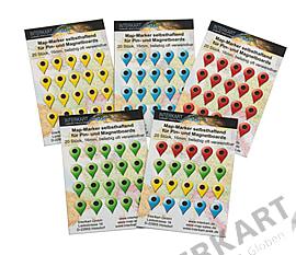 20 Map Marker in verschiedenen Farben 16mm