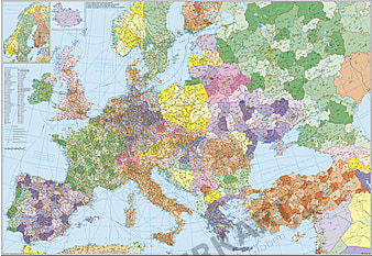 Post Code Wall Map Europe with Turkey