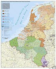 Benelux PLZ Karte Poster 97 x 118cm
