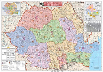 Rumänien PLZ Karte 125 x 100cm