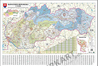 Slowakei PLZ Karte 138 x 93cm