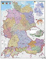 Postleitzahlenkarte Poster Deutschland Österreich Schweiz - PLZ Karte