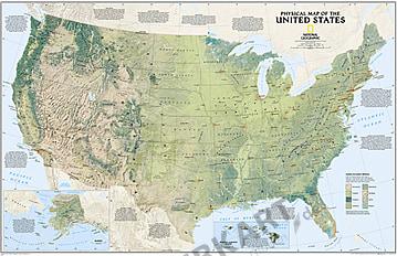 Fysisk kort over i USA