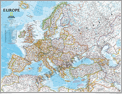 map of europe poster Political Europe Map (large size) 117 x 91cm
