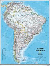 Politisk kort over Sydamerika (standardformat) National Geographic