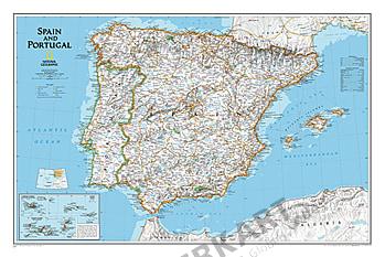 Landkarte Spanien und Landkarte Portugal von National Geographic