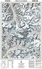 Mount Everest kort / Himalaya Topografisk kort