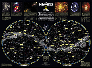 The Heavens Wall Map Poster from National Geographic