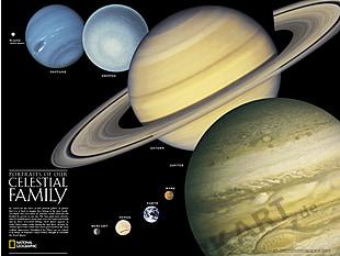 Das Sonnensystem Karte 61 x 46cm