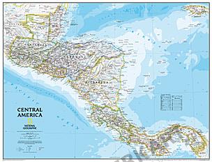 Landkort over Centralamerika National Geographic