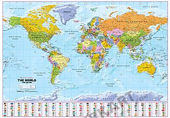 Politische Weltkarte mit Flaggen 1:40 Mio