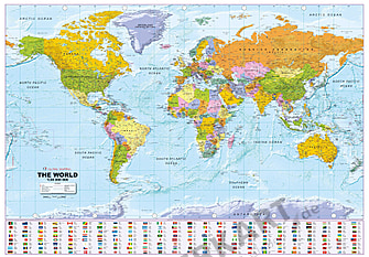 Political World Map with Flags 1:30 Mio 135 x 96cm