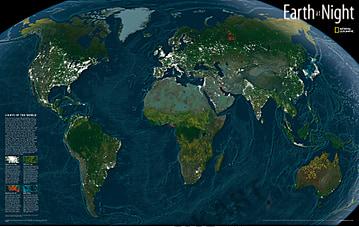 Satelliten Weltkarte Erde bei Nacht von National Geographic