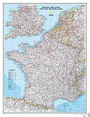Frankreich, Belgien, Niederlande Landkarte Poster von National Geographic