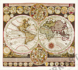 Zürner's Weltkarte (1710) 78 x 70cm