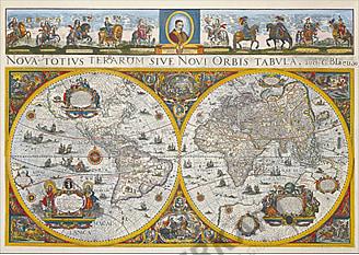 Blaeu's Weltkarte (1665) 98 x 71cm