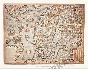 Olaus Magnus's Skandinavien (1539) 86 x 67cm