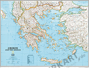 Greece Wall Map National Geographic