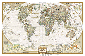 World map poster from National Geographic in antique style