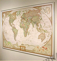 NGS Executive World Map (antique-tones), standard size - pinboard gold frame