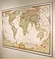 Executive Antike Weltkarte - Pinnwand, aufgezogen und berahmt (Farbe: Gold)