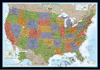 National Geographic Decorator kort over USA (standardformat)