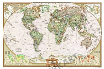 NGS Executive World Map (antique-tones), standard size - magnetboard gold frame
