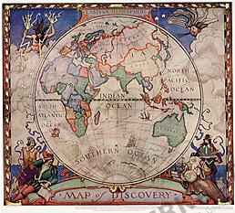 Entdecker Weltkarte - Östliche Hemisphäre