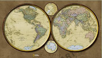 Hemisphären Weltkarte Poster von National Geographic