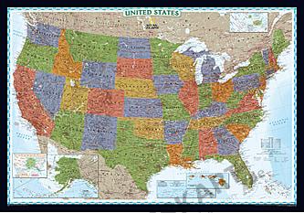 Decorator USA kort (storformat) National Geographic