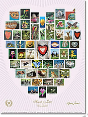 Natur Alphabet Poster #11 - Hearts and Love - weiß - 46 x 61cm
