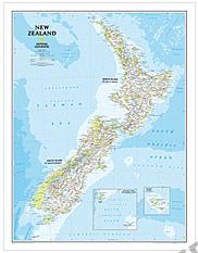 New Zealand Kort af National Geographic 60 x 77cm