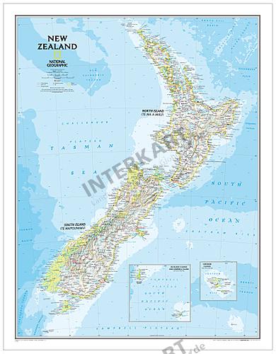 Neuseeland Landkarte Von National Geographic 60 X 77cm