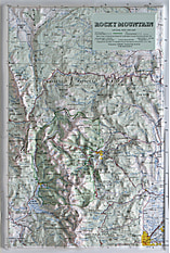 3D Relief Karte Rocky Mountain National Park und Umgebung