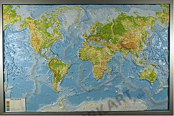 3D Relief Weltkarte physikalisch mit Rahmen 139 x 93cm