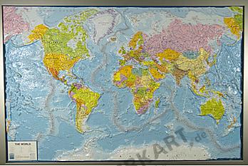 3D Relief Weltkarte politisch mit Rahmen 139 x 93cm