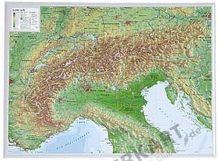 3D Raised Relief Map Alps small 39 x 29cm