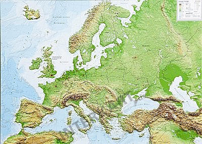 relief map of europe 3D Raised Relief Map Europe 77 x 57cm