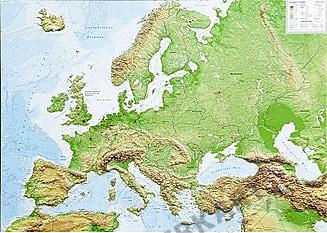 3D Reliefkarte Europa klein