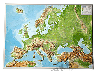 3D Raised Relief Europe Map english 77 x 57cm