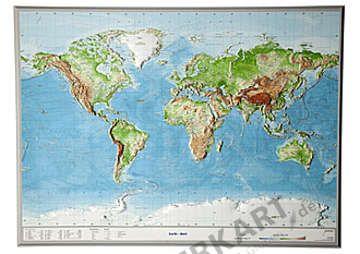 3D Raised Relief World Map english labeled