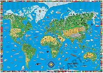 Kinderweltkarte englisch 135 x 95cm