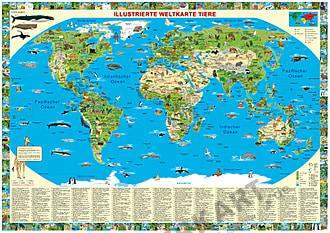 Kinderweltkarte mit Tieren