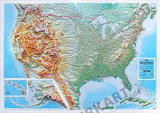 3D relief kort USA XL