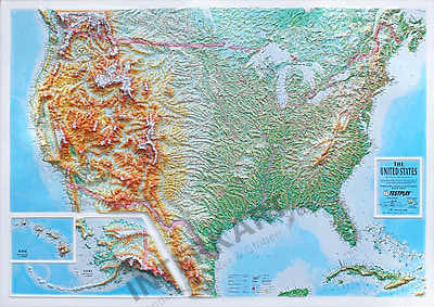Relief Map Of Usa 3D Raised Relief Map USA XL
