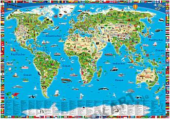 Illustrierte Kinderweltkarte als Poster