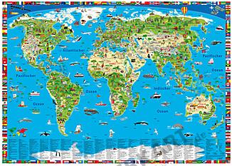 Illustrierte Weltkarte für Kinder als Vliestapete