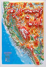 3D Relief Panorama Kort Californien i A4 format
