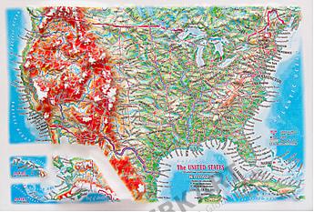 3D Relief Panorama Kort USA i A4 format