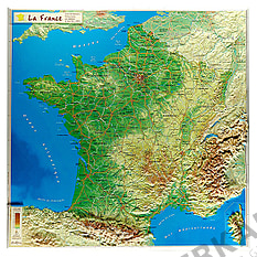 3D Relief Map France small 42 x 42cm